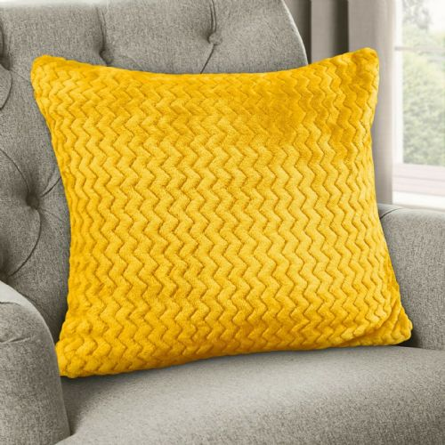 Large Luxury Chevron Zig Zag Super Soft Velvet Plush Scatter Cushion Plain Ochre 56cm x 56cm